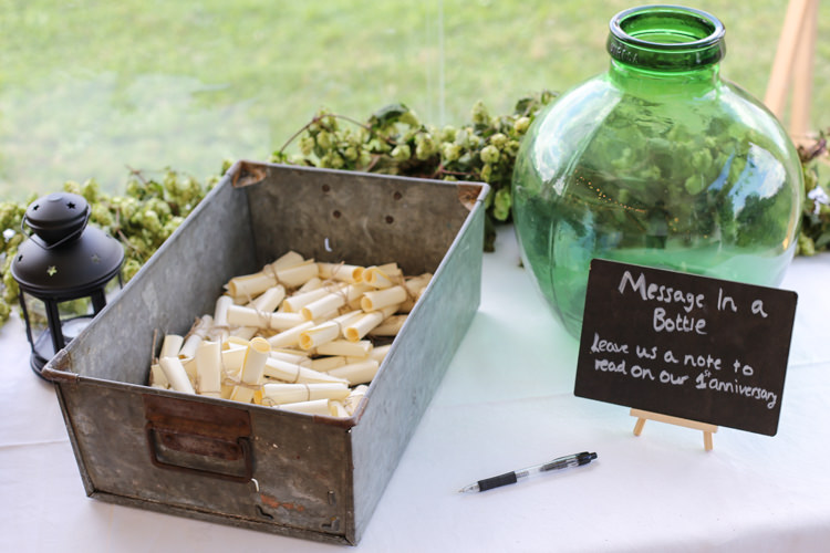 Message in a Bottle Guest Book Manor Farm Wedding Hampshire Luke Doyle Photography