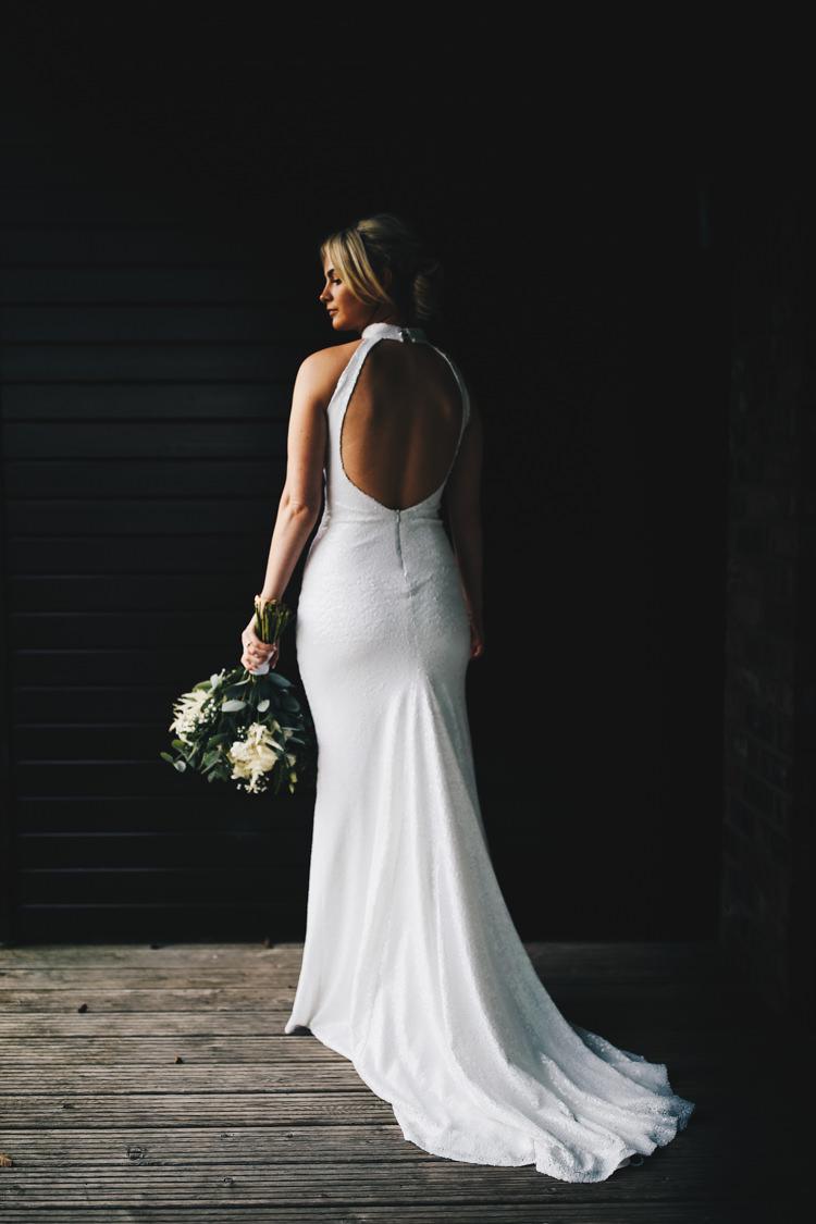 Bride Bridal Dress Gown Open Back Train Fitted Flare Stylish Minimalist Moddershall Oaks Wedding Winnington & Coe Photography