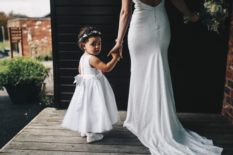 Flower Girl Dress Bow Sash Stylish Minimalist Moddershall Oaks Wedding Winnington & Coe Photography