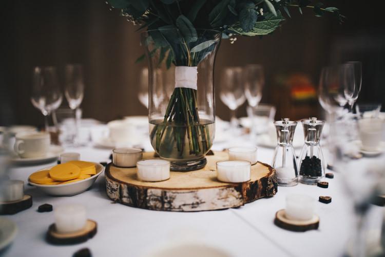 Log Tea Light Candle Centrepiece Decor Stylish Minimalist Moddershall Oaks Wedding Winnington & Coe Photography