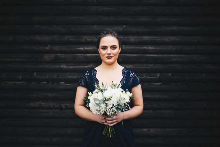 Navy Bridesmaid Lace Dress Stylish Minimalist Moddershall Oaks Wedding Winnington & Coe Photography