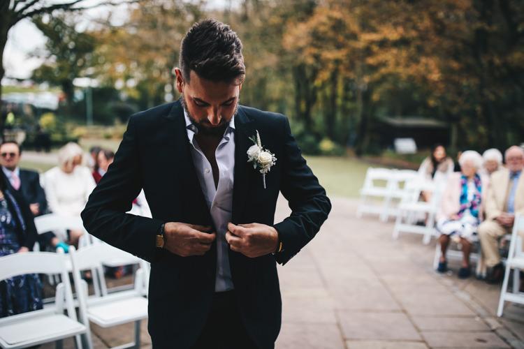 Groom Jacket Open Collar Stylish Minimalist Moddershall Oaks Wedding Winnington & Coe Photography