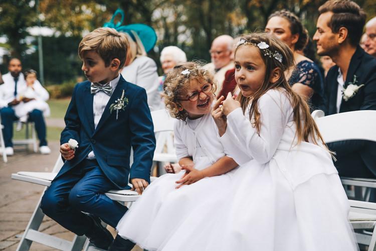 Page Boy Bow Tie Flower Girls Stylish Minimalist Moddershall Oaks Wedding Winnington & Coe Photography