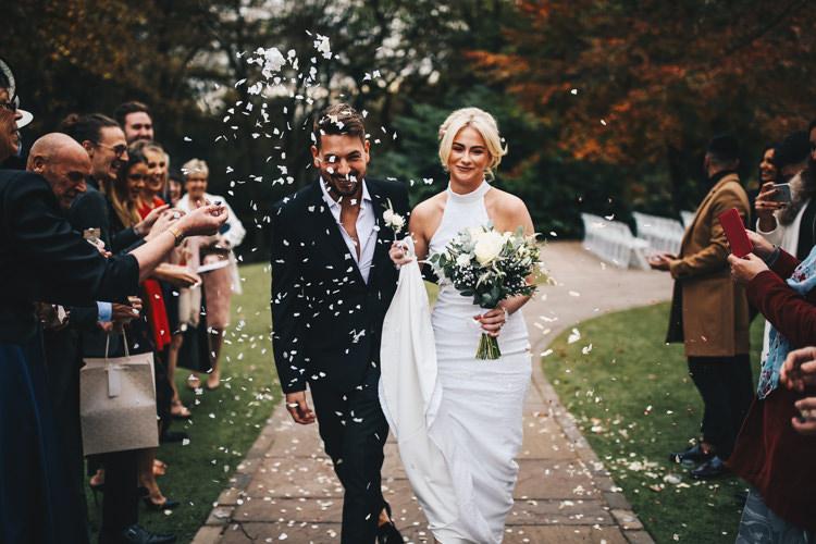 Confetti Throw Stylish Minimalist Moddershall Oaks Wedding Winnington & Coe Photography
