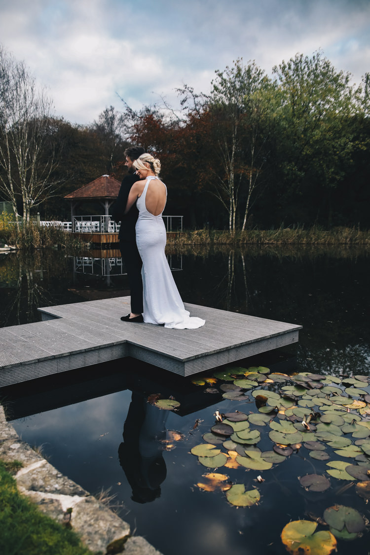 Bride Bridal Dress Gown Open Back Train Fitted Flare Halterneck  Stylish Minimalist Moddershall Oaks Wedding Winnington & Coe Photography