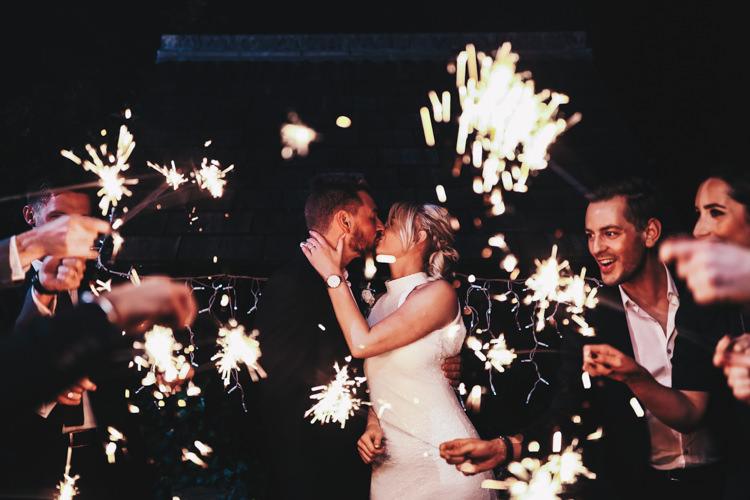 Sparklers Send Off Exit Stylish Minimalist Moddershall Oaks Wedding Winnington & Coe Photography