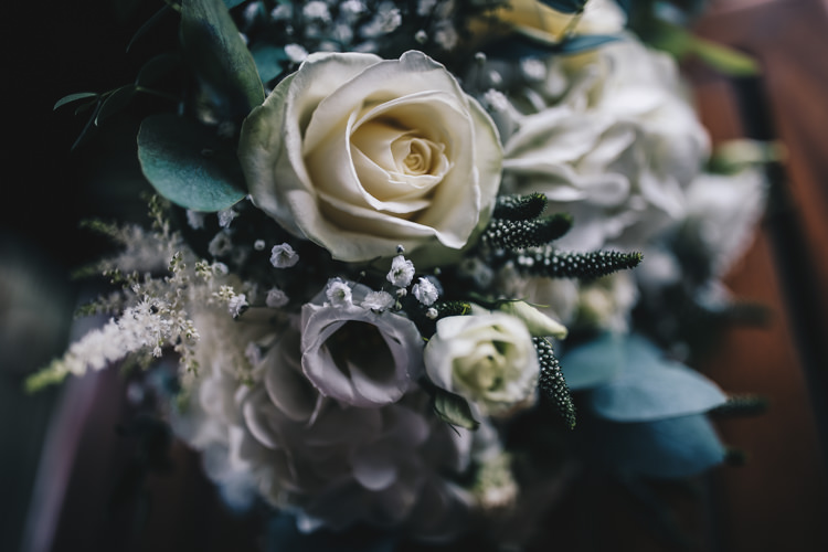Flowers Bouquet Bride Bridal White Greenery Astilbe Fresia Rose Stylish Minimalist Moddershall Oaks Wedding Winnington & Coe Photography