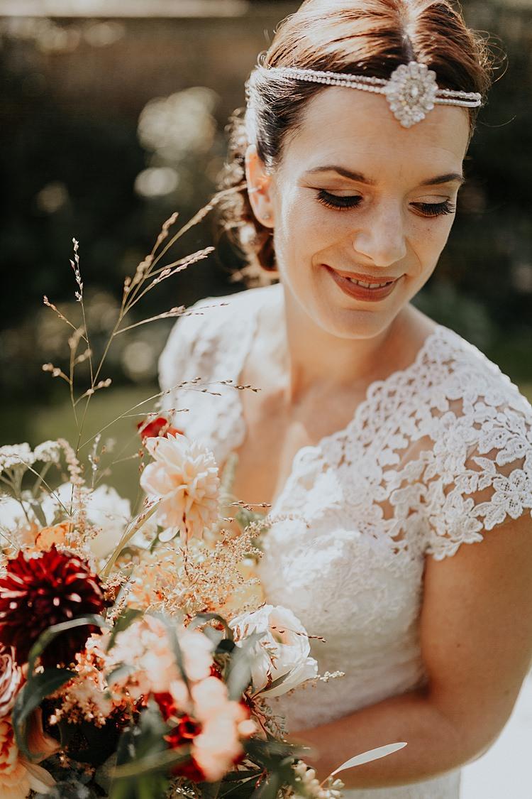 Bride Bridal Make Up Forehead Accessory Band Hair North Hidden Barn Wedding Autumn Jen Marino Photography