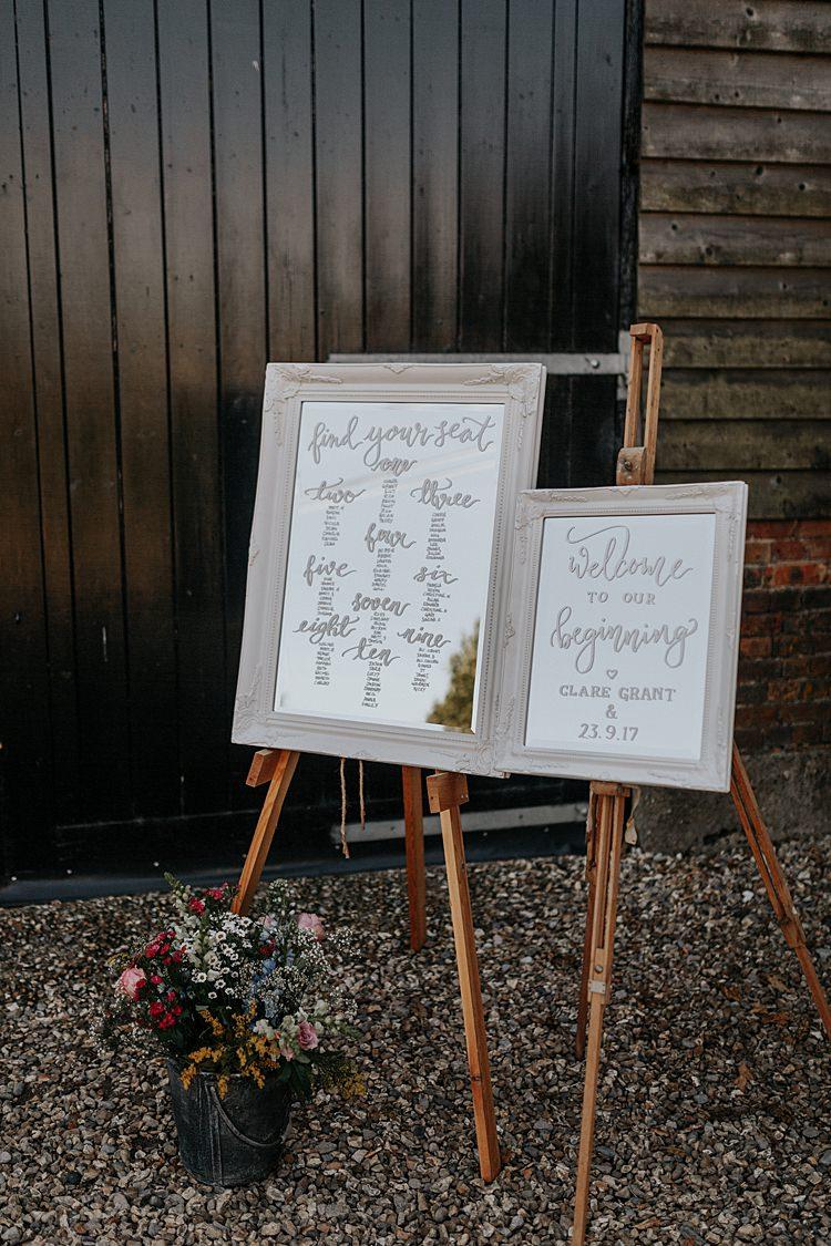 Wooden Frame Mirror Sign Seating Plan Chart Easel North Hidden Barn Wedding Autumn Jen Marino Photography