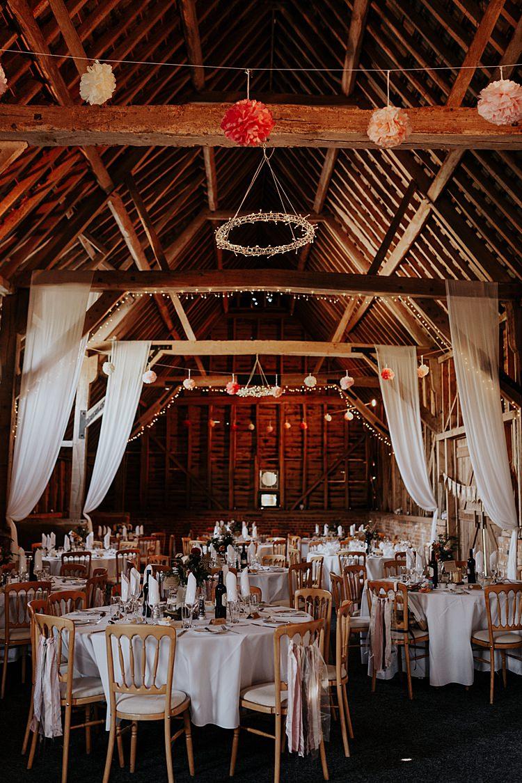 Fairy Lights Drapes Pom Poms North Hidden Barn Wedding Autumn Jen Marino Photography