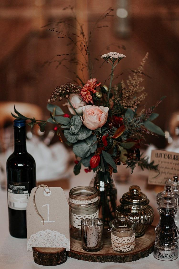 Centrepiece Flowers Log Bottle Jars Lace North Hidden Barn Wedding Autumn Jen Marino Photography