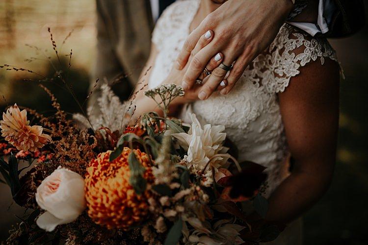 Bouquet Flowers Bride Bridal Orange Blush Oxlood Ribbon Cafe Au Lait Dahlias Roses Chrysanthemums Olive Foliage North Hidden Barn Wedding Autumn Jen Marino Photography
