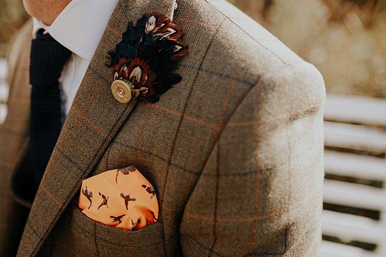 Groom Brown Check Jackets Blue Chinos Tie Groomsmen Feather Buttonhole Pocket Square Pheasants North Hidden Barn Wedding Autumn Jen Marino Photography