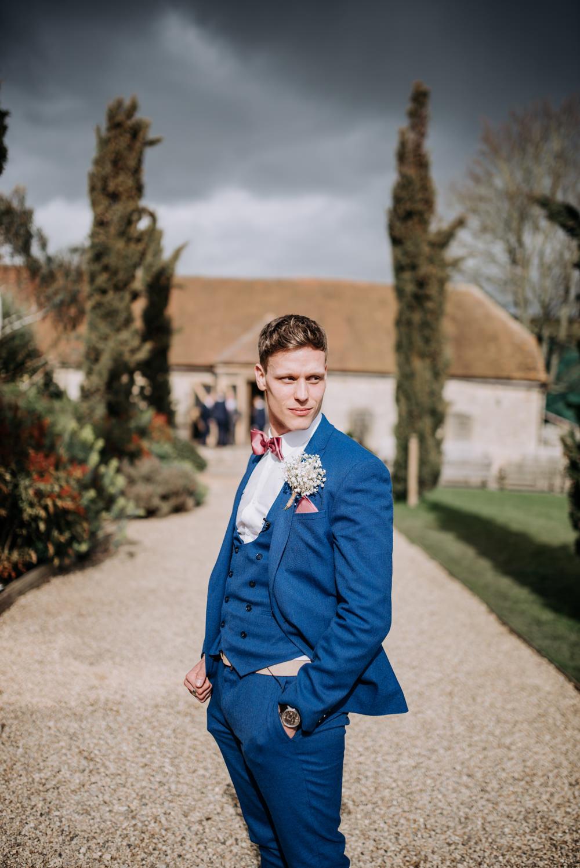Groom Suit Blue Pink Bow Tie Notley Tythe Barn Wedding Kazooieloki Photography