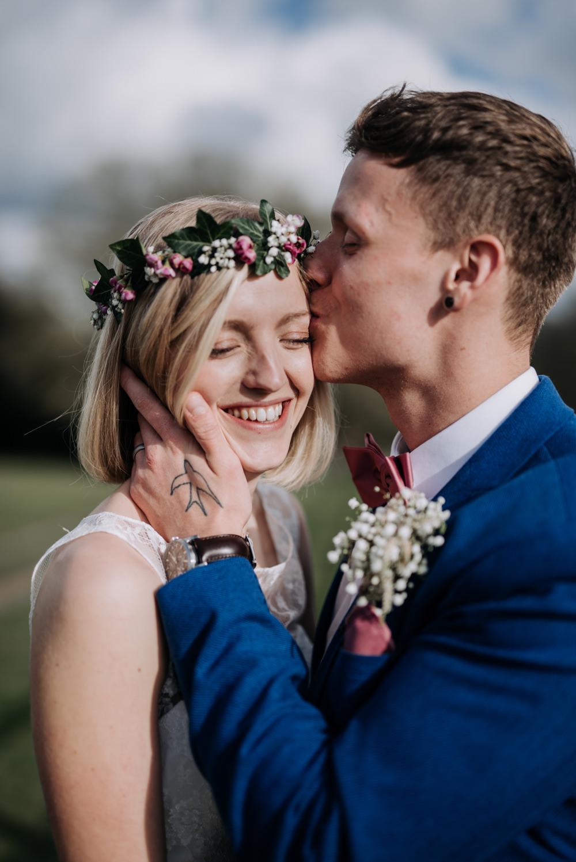 Bride Bridal Flower Crown Short Hair Notley Tythe Barn Wedding Kazooieloki Photography