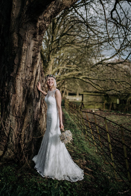 Bride Bridal Dress Gown Lace Flower Crown Short Hair Gypsophila Bouquet Astilbe Notley Tythe Barn Wedding Kazooieloki Photography