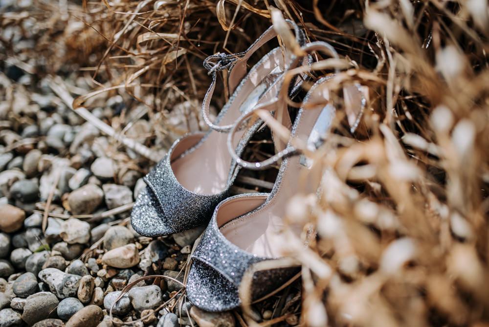 Silver Glitter Shoes Bride Bridal Notley Tythe Barn Wedding Kazooieloki Photography
