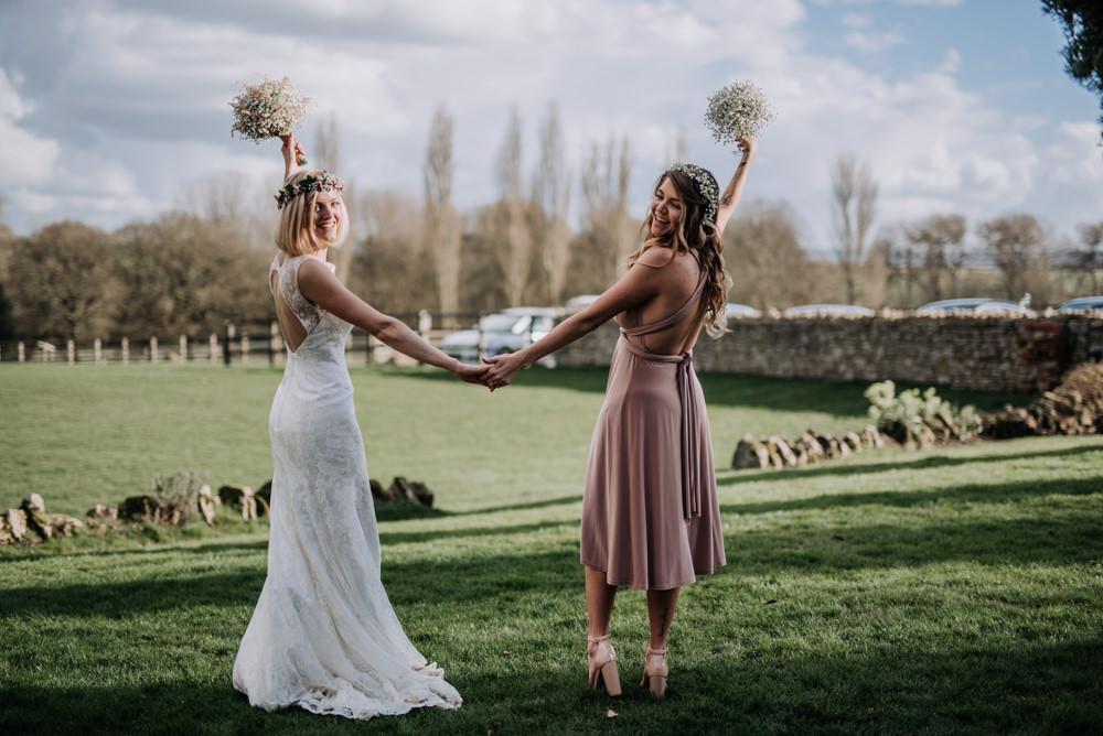 Pink Midi Multi Way Bridesmaid Dresses Notley Tythe Barn Wedding Kazooieloki Photography