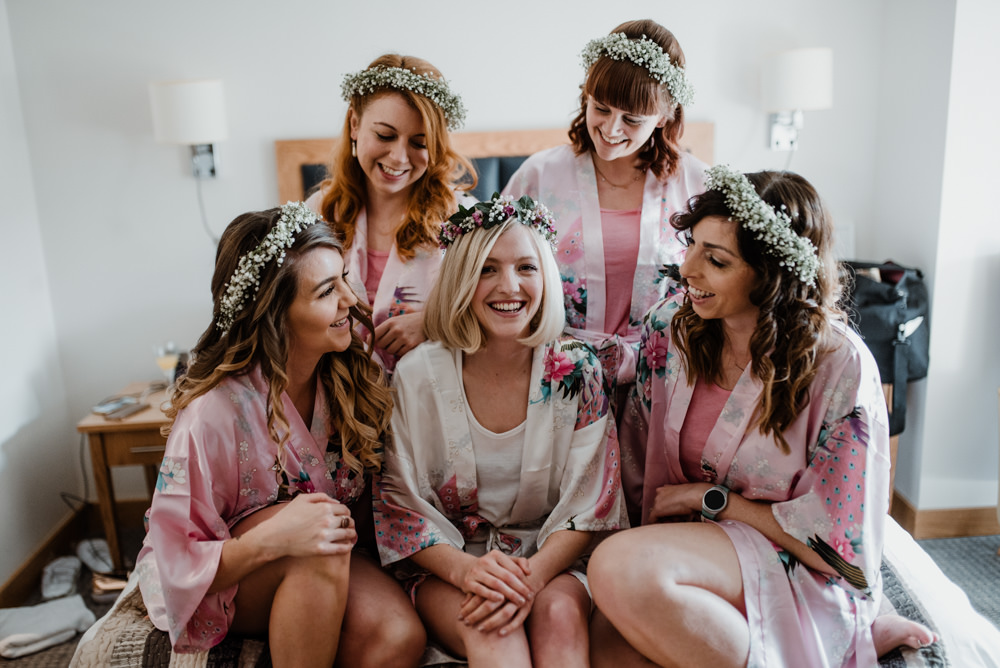 Bride Bridesmaids Robes Dressing Gowns Floral Flower Crowns Notley Tythe Barn Wedding Kazooieloki Photography