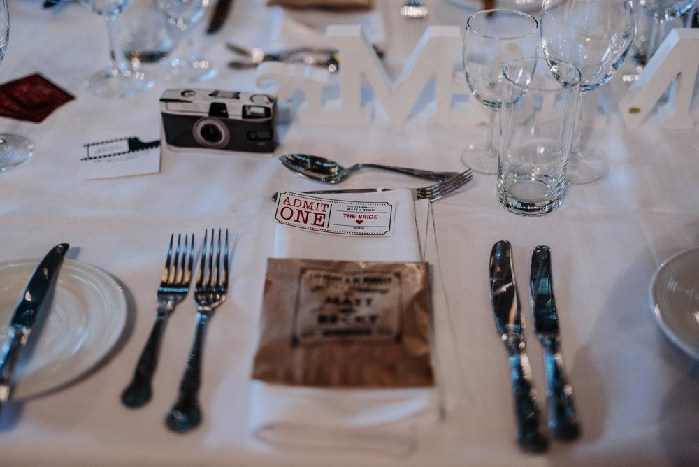 Ticket Stationery Movie Cinema Notley Tythe Barn Wedding Kazooieloki Photography