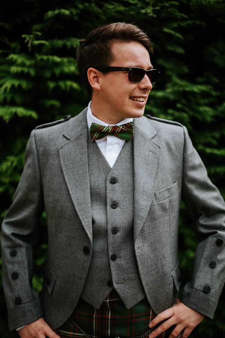 Groom Bow Tie Tartan Kilt Grey Jacket Pretty Pastel Floral Village Hall Wedding Struve Photography