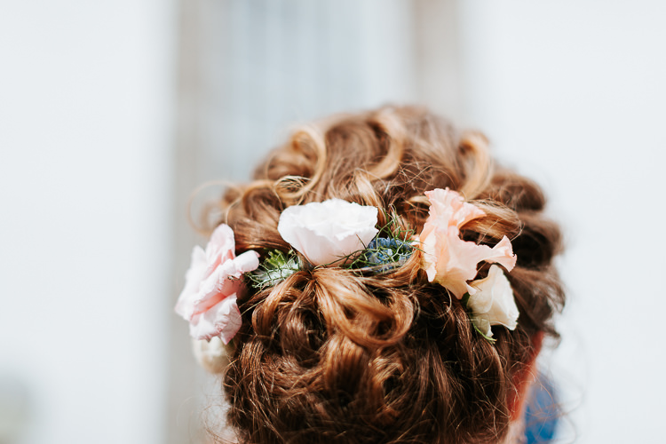 Hair Style Up Do Bride Bridesmaid Flowers Pretty Pastel Floral Village Hall Wedding Struve Photography