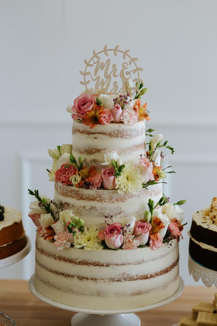 Semi Naked Cake Buttercream Layer Sponge Flowers Laser Cut Topper Pretty Pastel Floral Village Hall Wedding Struve Photography