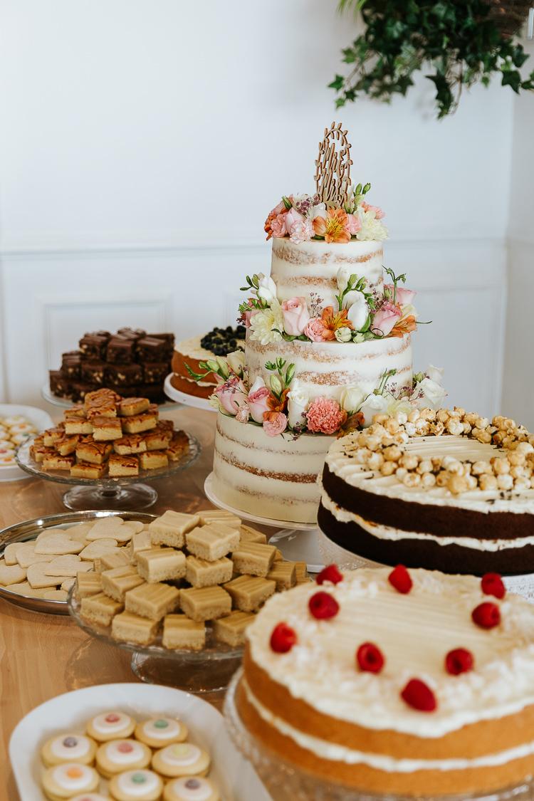 Cake Table Treats Sweets Dessert Pretty Pastel Floral Village Hall Wedding Struve Photography