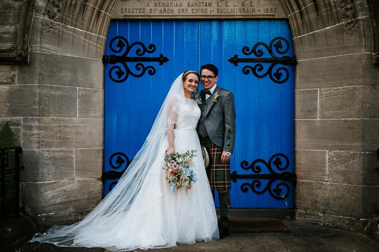Lace Tulle Dress Gown Bride Bridal Long Veil Pretty Pastel Floral Village Hall Wedding Struve Photography