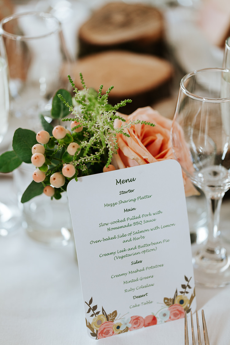 Floral Stationery Menu Pretty Pastel Floral Village Hall Wedding Struve Photography