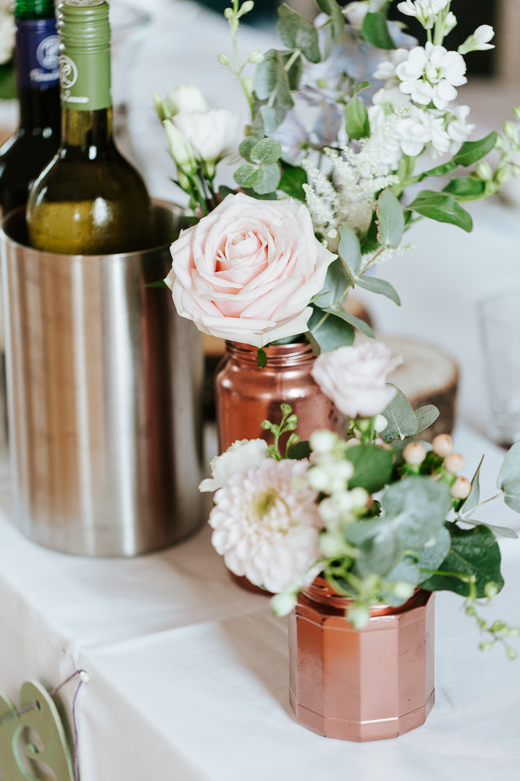 Rose Stocks Dahlia Jar Bottle Copper Flowers Pretty Pastel Floral Village Hall Wedding Struve Photography