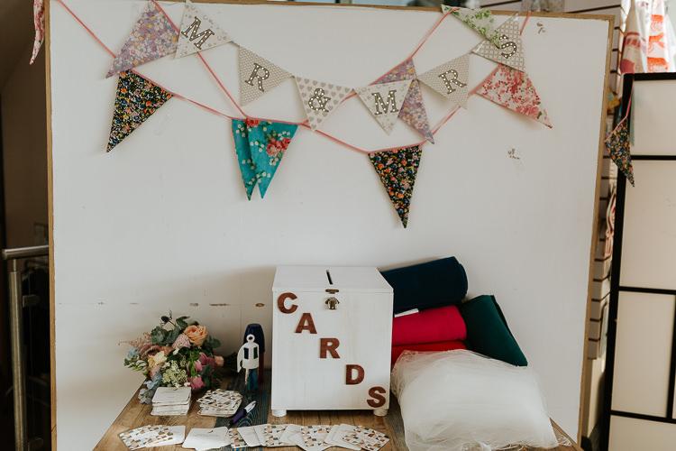 Wooden Card Box Pretty Pastel Floral Village Hall Wedding Struve Photography
