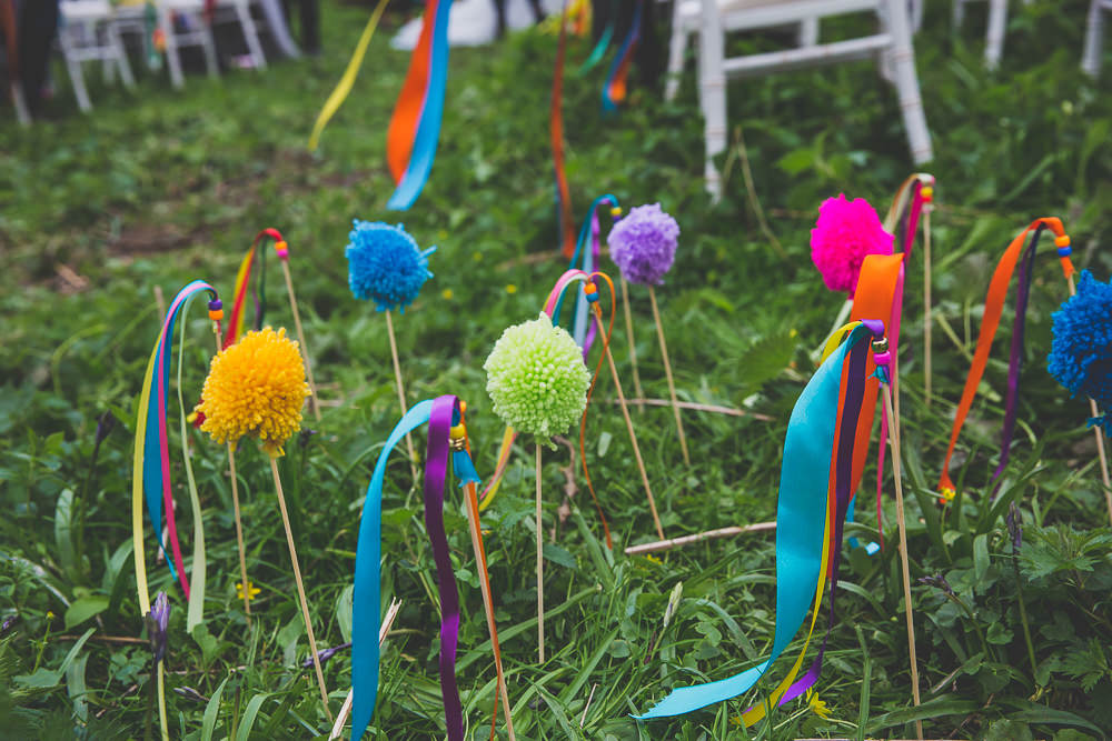Pom Pom Ribbon Sticks Wands Ceremony Rainbow Alternative Woodland Wedding Ideas Nicki Shea Photography