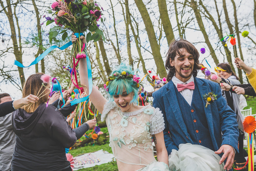 Pom Pom Wands Confetti Rainbow Alternative Woodland Wedding Ideas Nicki Shea Photography
