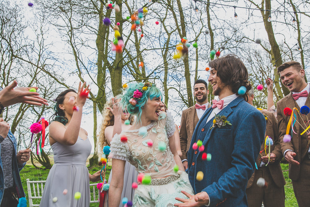 Pom Pom Confetti Rainbow Alternative Woodland Wedding Ideas Nicki Shea Photography