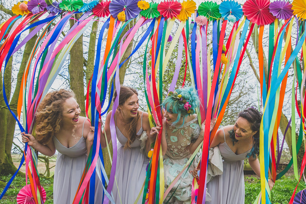 Curtain Ribbon Backdrop Pinwheels Bridesmaids Dresses Rainbow Alternative Woodland Wedding Ideas Nicki Shea Photography