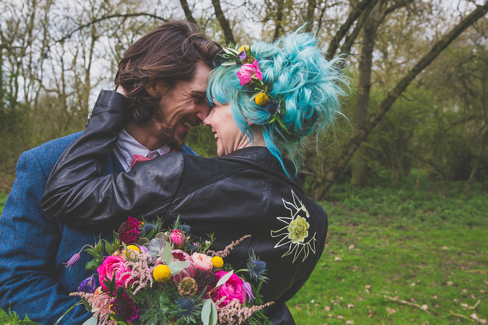 Dress Gown Bride Bridal Painted Leather Jacket Rainbow Alternative Woodland Wedding Ideas Nicki Shea Photography