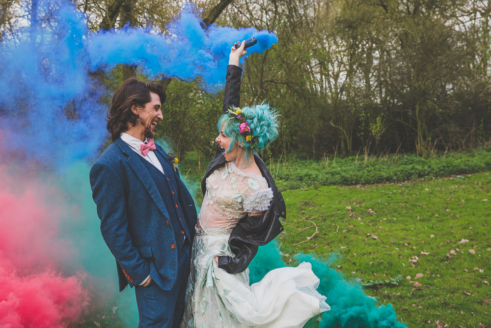 Smoke Bombs Rainbow Alternative Woodland Wedding Ideas Nicki Shea Photography