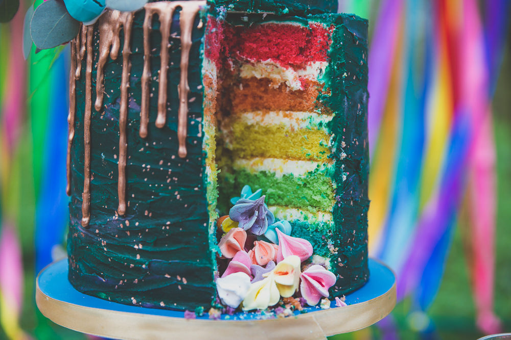 Cake Drip Green Gold Rainbow Alternative Woodland Wedding Ideas Nicki Shea Photography