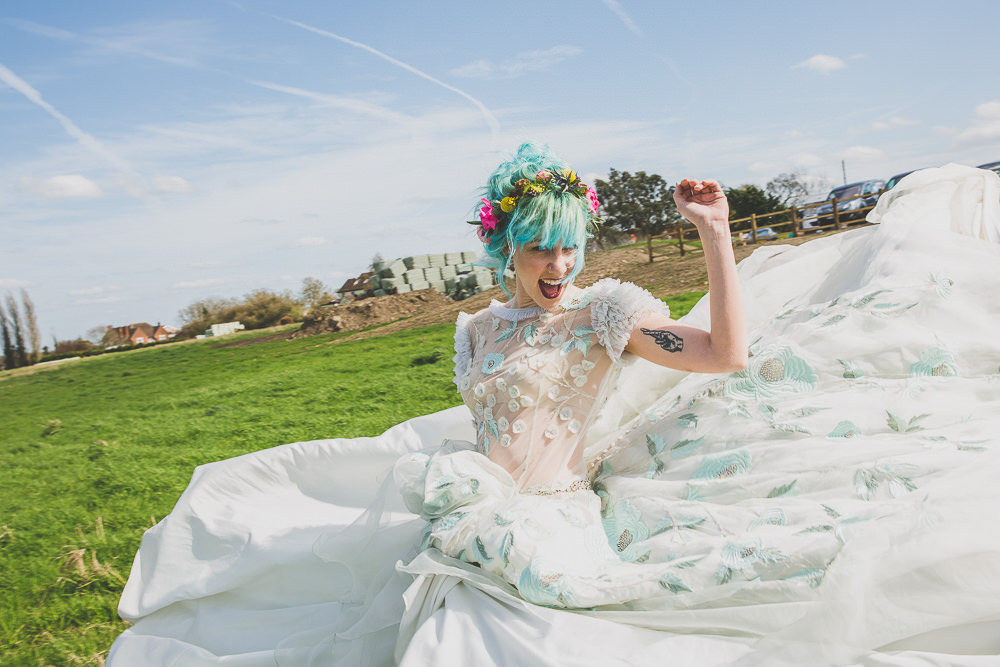 Floral Dress Gown Bride Bridal Embroidered Sheer Blue Rainbow Alternative Woodland Wedding Ideas Nicki Shea Photography