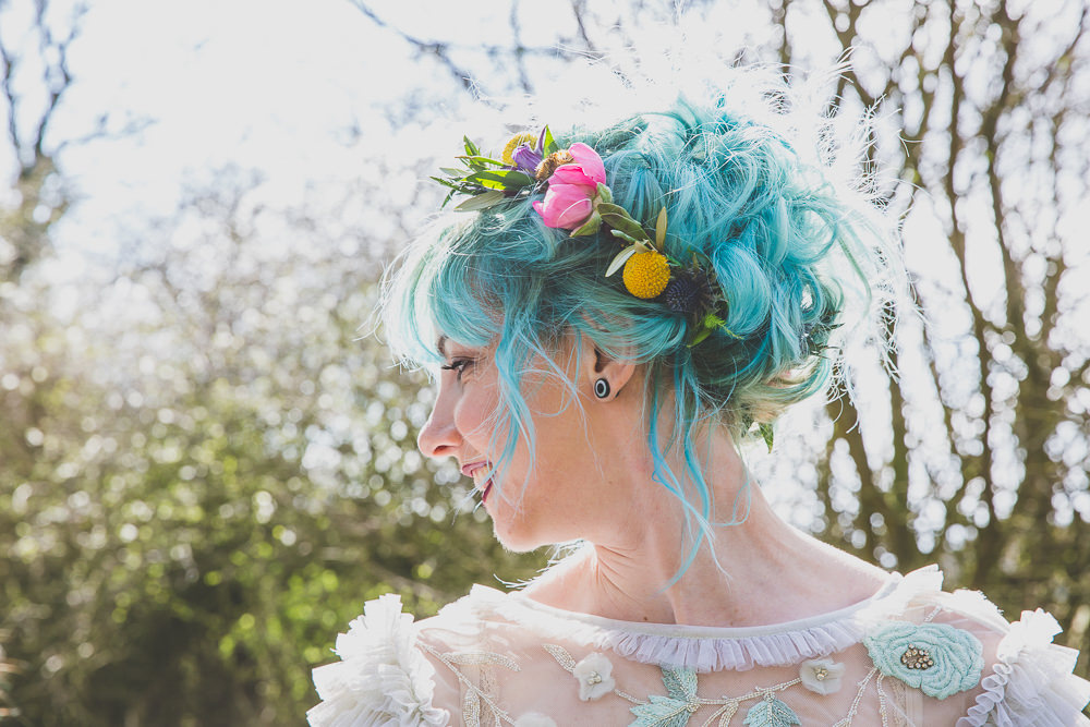 Bride Bridal Hair Blue Rainbow Alternative Woodland Wedding Ideas Nicki Shea Photography