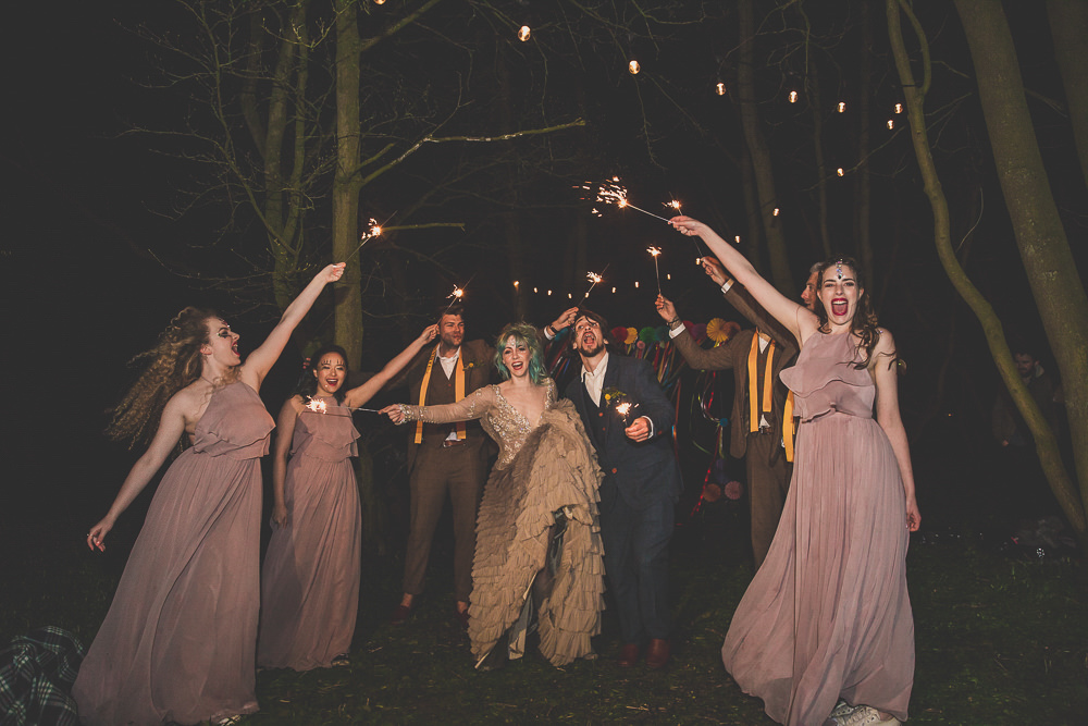 Sparklers Rainbow Alternative Woodland Wedding Ideas Nicki Shea Photography