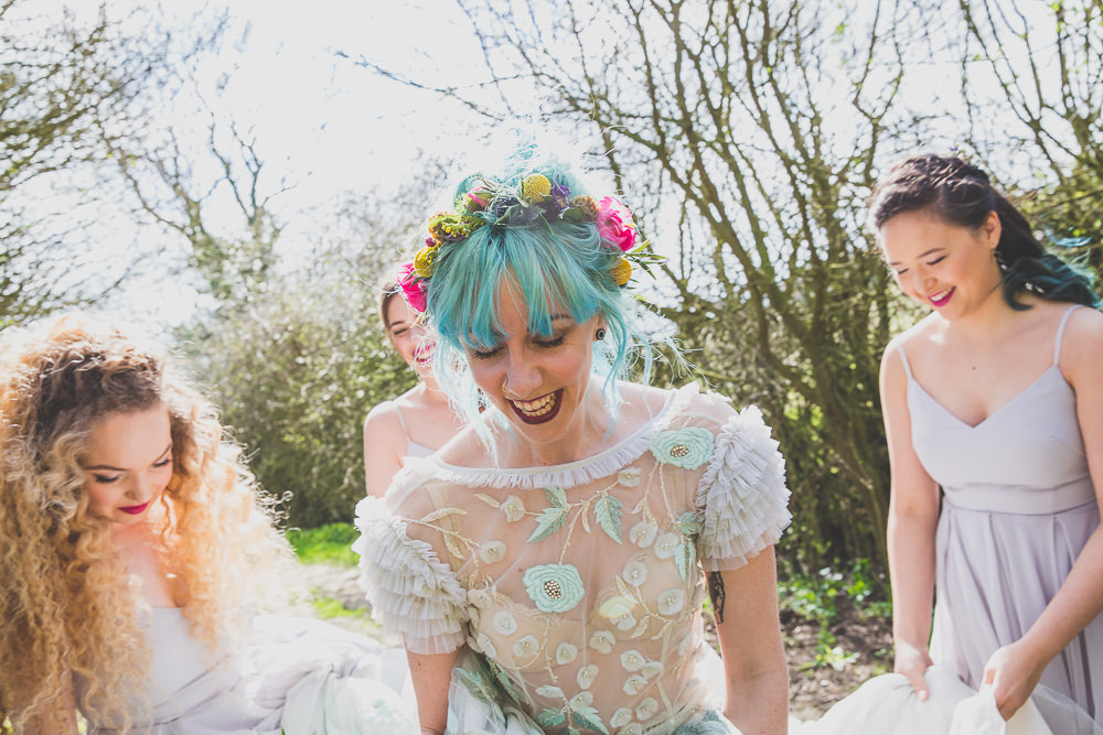 Floral Dress Gown Bride Bridal Embroidered Sheer Blue Flower Crown Rainbow Alternative Woodland Wedding Ideas Nicki Shea Photography