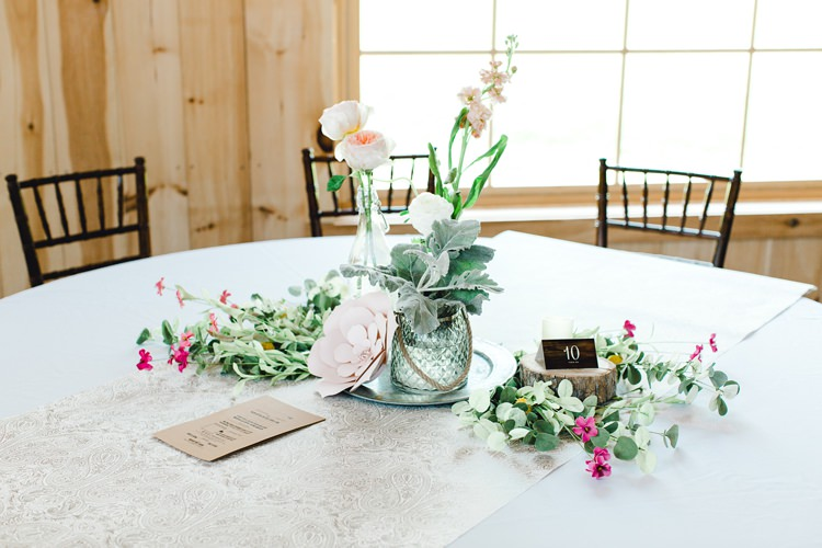 Centrepiece Flowers Tall Pink Blue Blush Rose Romantic Spring Pastel Farm Wedding Ashley Spangler Photography