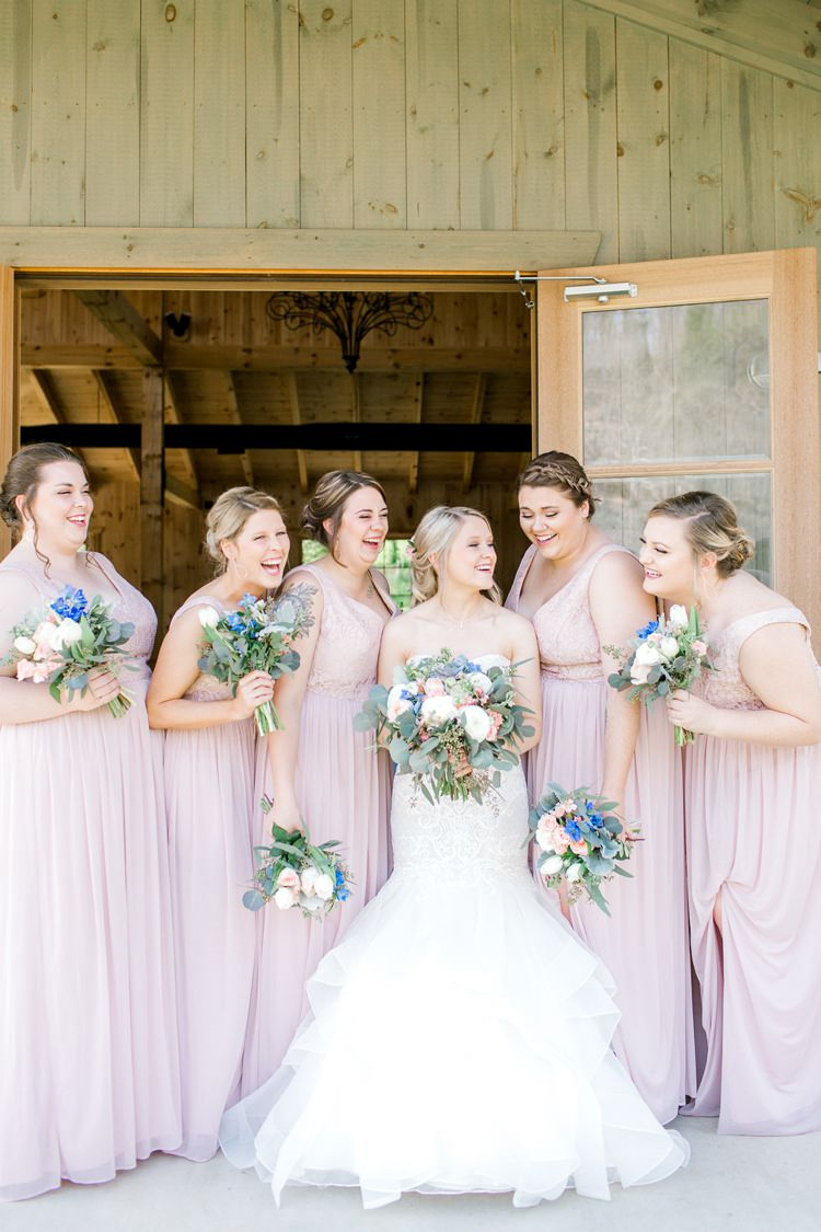 Blush Pink Bridesmaids Fit Flare Fishtail Dress Gown Bride Bridal Lace Sweetheart Romantic Spring Pastel Farm Wedding Ashley Spangler Photography