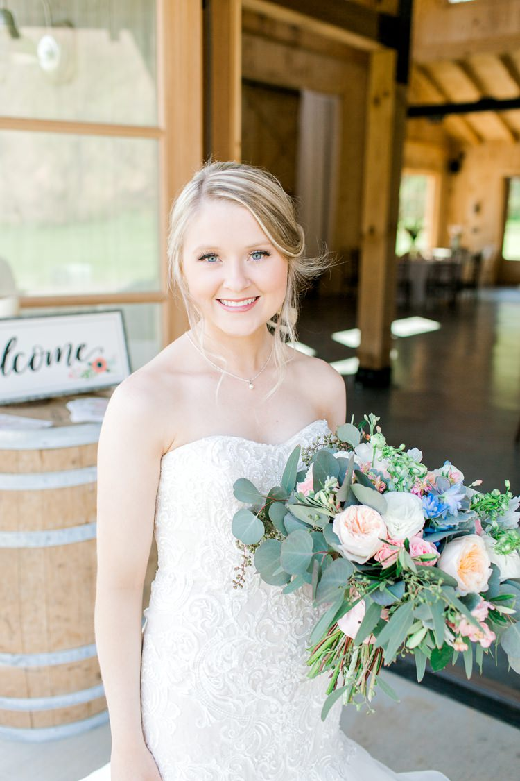 Succlents Flowers Bouquet Bride Bridal Pink Blue David Austin Rose Peach Greenery Romantic Spring Pastel Farm Wedding Ashley Spangler Photography