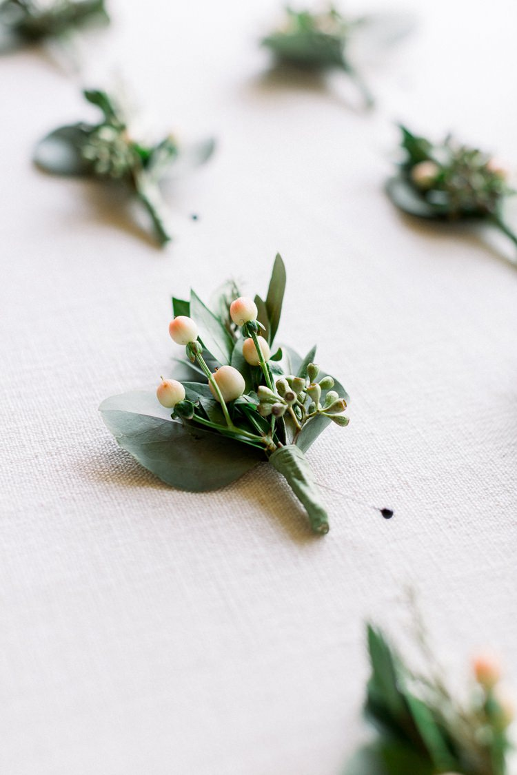 Buttonhole Greenery Berry Romantic Spring Pastel Farm Wedding Ashley Spangler Photography