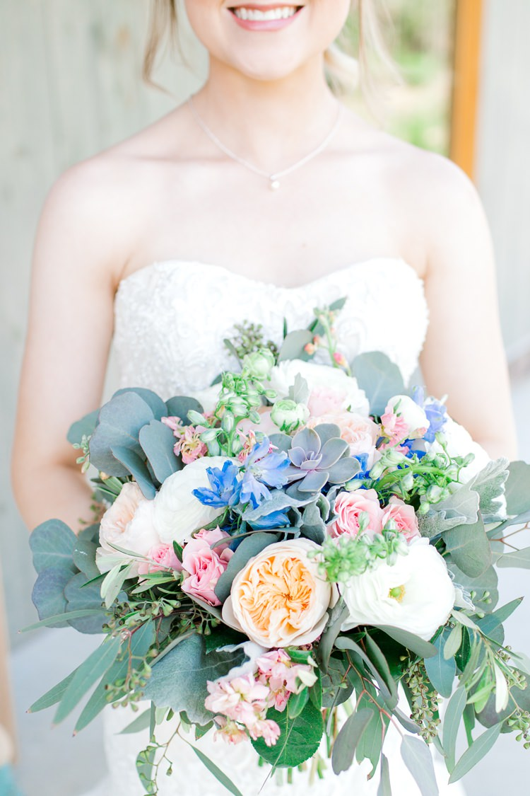 Flowers Bouquet Succulents Bride Bridal Pink Blue David Austin Rose Peach Greenery Romantic Spring Pastel Farm Wedding Ashley Spangler Photography