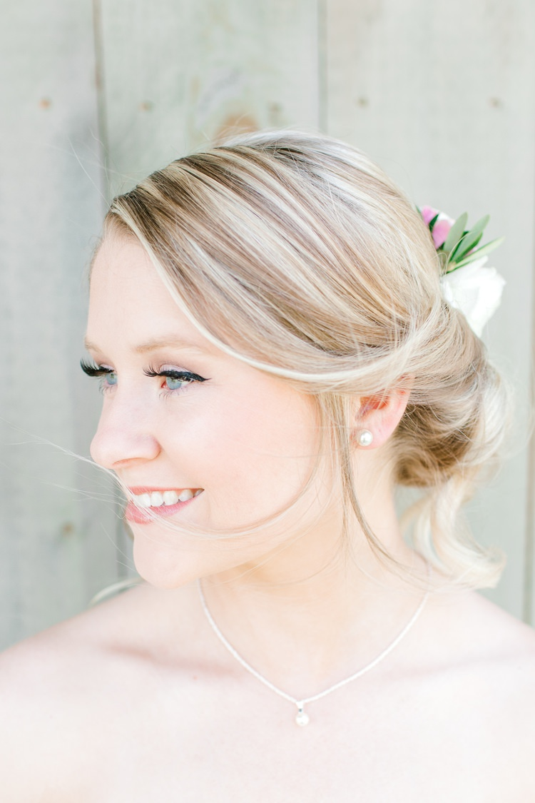 Bride Bridal Hair Style Up Do Twist Flowers Romantic Spring Pastel Farm Wedding Ashley Spangler Photography