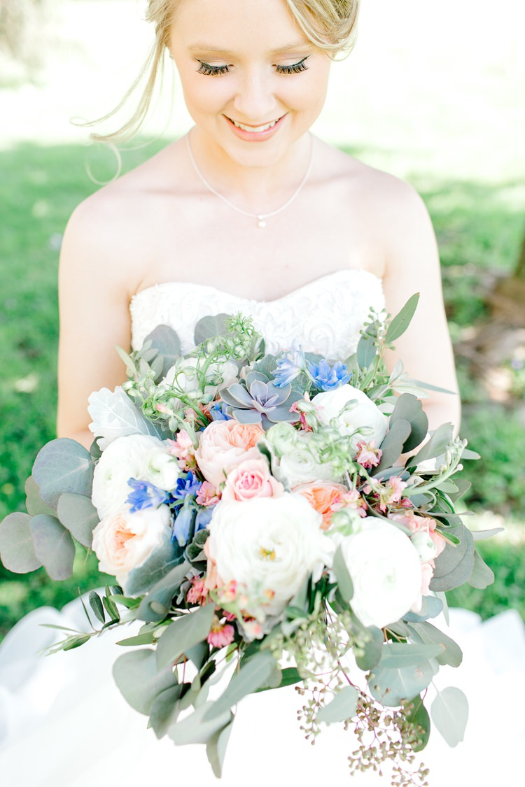 Flowers Bouquet Bride Bridal Pink Blue David Austin Rose Peach Greenery Romantic Spring Pastel Farm Wedding Ashley Spangler Photography